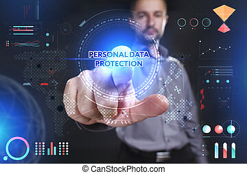 Business, Technology, Internet and network concept. Young businessman showing a word in a virtual tablet of the future: Personal data protection
