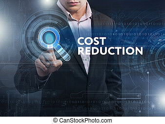Business, Technology, Internet and network concept. Business man working on the tablet of the future, select on the virtual display: cost reduction
