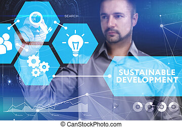 Business, Technology, Internet and network concept. Young businessman shows the word on the virtual display of the future: Sustainable development