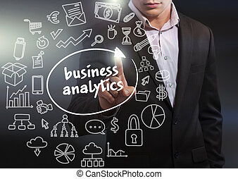 Business, Technology, Internet and network concept. Business man working on the tablet of the future, select on the virtual display: business analytics