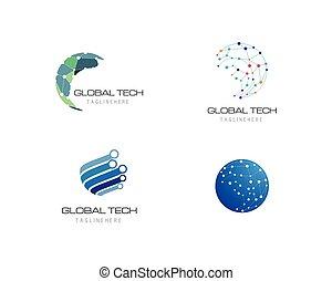 Business technology logo template vector