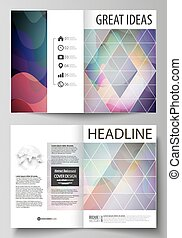 Business templates for bi fold brochure, magazine, flyer, booklet, annual report. Cover design template, flat style vector layout in A4 size. Colorful pattern with shapes forming abstract background