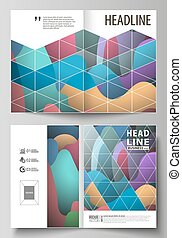 Business templates for bi fold brochure, magazine, flyer, booklet or annual report. Cover design template, flat style vector layout in A4 size. Colorful pattern with shapes forming abstract background