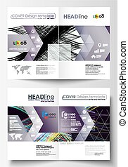 Business templates for bi fold brochure, magazine, flyer. Cover template, easy editable vector, flat layout in A4 size. Abstract waves, lines and curves. Dark color background. Motion design.
