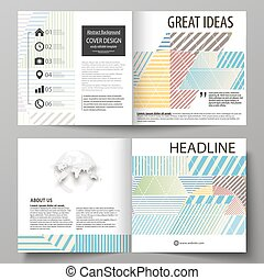 Business templates for bi fold square brochure, magazine, flyer, booklet, report. Leaflet cover, abstract vector layout. Minimalistic design with lines, geometric shapes forming beautiful background.