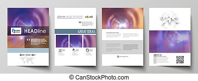 Business templates for brochure, flyer, booklet or annual report. Cover template, easy editable vector, abstract flat layout in A4 size. Bright color colorful design, beautiful futuristic background.