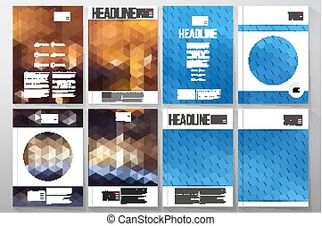 Business templates for brochure, flyer or booklet. Night landscape. Collection of abstract multicolored backgrounds. Natural geometrical patterns. Triangular and hexagonal style vector illustration