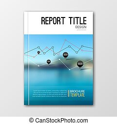 Business templates for brochure, flyer, report or booklet. Abstract background of nature landscape water, vector illustration.