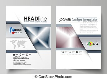 Business templates for brochure, magazine, flyer, annual report. Cover design template, vector layout in A4 size. Simple monochrome geometric pattern. Abstract polygonal style, modern background.