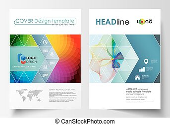 Business templates for brochure, magazine, flyer, annual report. Cover template, easy editable vector, flat layout in A4 size. Colorful design background with abstract shapes and waves, overlap effect