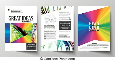 Business templates for brochure, magazine, flyer, report. Cover template, easy editable vector, flat layout in A4 size. Colorful background, abstract waves, lines. Bright color curves. Motion design.
