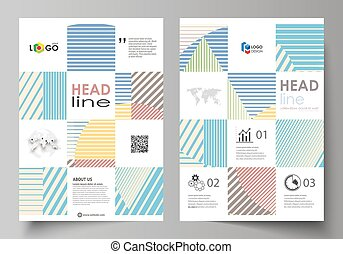 Business templates for brochure, magazine, flyer, booklet or report. Cover template, abstract vector layout in A4 size. Minimalistic design with lines, geometric shapes forming beautiful background.