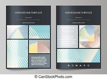 Business templates for brochure, magazine, flyer, booklet or report. Cover template, abstract vector layout in A4 size. Minimalistic design with lines, geometric shapes forming beautiful background