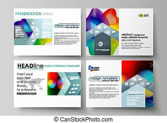 Business templates for presentation slides. Easy editable layouts in flat style, vector illustration. Colorful design with overlapping geometric shapes and waves forming abstract beautiful background.
