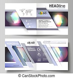 Business templates for square bi fold brochure, magazine, flyer, booklet or annual report. Leaflet cover, abstract vector layout. Retro style, mystical Sci-Fi background. Futuristic trendy design.