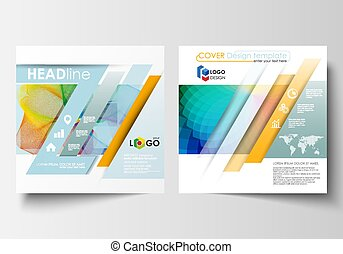 Business templates for square brochure, magazine, flyer, annual report. Leaflet cover, flat layout, easy editable vector. Colorful design background with abstract shapes and waves, overlap effect.