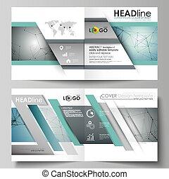 Business templates for square design bi fold brochure,...