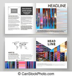 Business templates for square design bi fold brochure, magazine, flyer. Leaflet cover, abstract vector layout. Glitched background made of colorful pixel mosaic. Digital decay. Trendy glitch backdrop.
