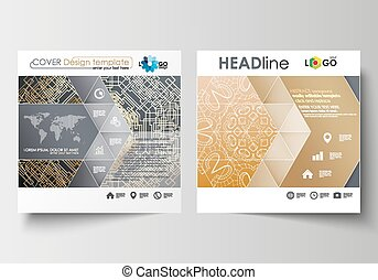 Business templates for square design brochure, magazine, flyer, booklet. Leaflet cover, flat layout. Golden technology background, connection structure with connecting dots and lines, science vector.