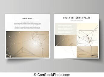 Business templates for square design brochure, magazine, flyer, booklet, report. Leaflet cover, vector layout. Technology, science, medical concept. Golden dots and lines, digital style. Lines plexus.