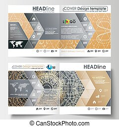 Business templates for square design brochure, magazine, flyer. Leaflet cover, flat layout. Golden technology background, connection structure with connecting dots and lines, science vector.