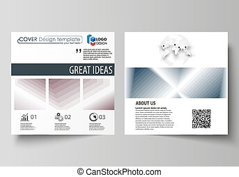 Business templates for square design brochure, magazine, flyer, report. Leaflet cover, flat vector layout. Simple monochrome geometric pattern. Abstract polygonal style, stylish modern background.