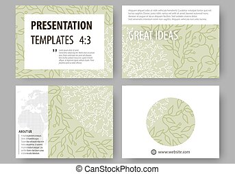 Business templates, presentation slides. Easy editable layouts, flat design. Green color background with leaves. Spa concept in linear style. Vector decoration for cosmetics, beauty industry.