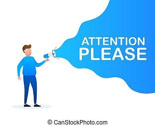 business, tenant main, porte voix, stockage, marketing., s'il vous plaît, mâle, attention, loudspeaker., bubble., bannière, parole, vecteur, illustration.