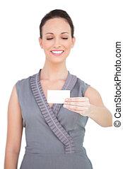 business, tenue, modèle, séduisant, sourire, carte