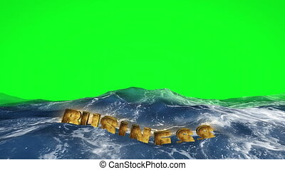 Business text floating in water on green screen