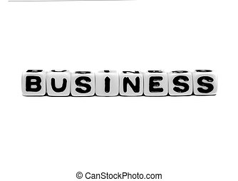 Business text message with alphabets on white background.