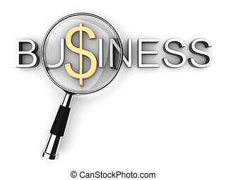 business text with magnifying glass
