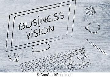 business, texte, coffe, écran, clavier ordinateur, vision