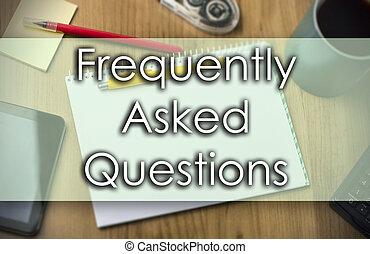 business, texte, -, frequently, questions, demandé, concept