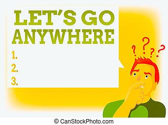 business, texte, main, bouche, aller, photo, bubble., relâcher, homme, lets, anywhere., showcasing, marque, endroits, question, note, écriture, icône, étrangers, jouir de, projection, rencontrer, nouveau, visite, exprimer