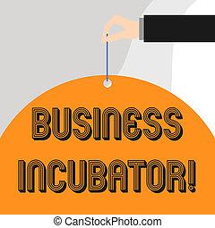business, texte, projection, démarrage, incubator., sociétés, aides, photo, conceptuel, nouveau, develop., compagnie, signe