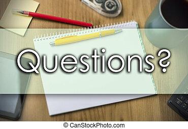 business, texte, questions?, -, concept