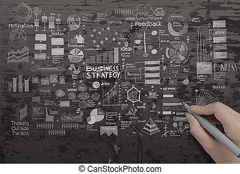 business, texture, main, stratégie, fond, créatif, dessin