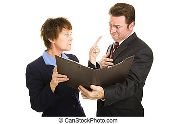 Business - The Blame Game - Businesswoman pointing fingers...