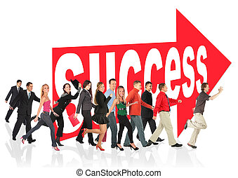 business themed collage, people run to success following the...