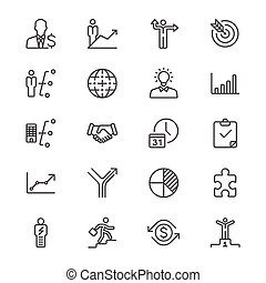 Business thin icons