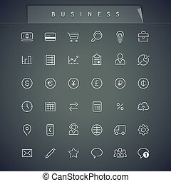 Business Thin Icons Set