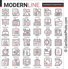 Business thin red black line icon vector illustration set ...