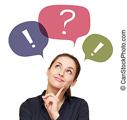 Business thinking woman with colorful chat bubbles above...
