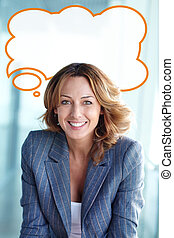 Business thoughts - Vertical portrait of a beautiful ...