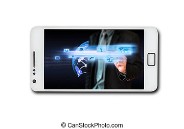 Business through a touch screen mobile phone