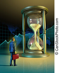 Business time - Businessman looking at a giant hourglass....
