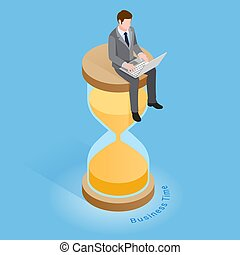 Business time concepts. Businessman running with clock. ...