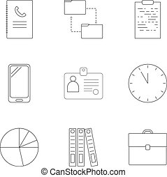 Business time icons set, outline style