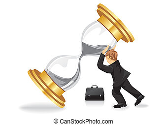 business time - man fighting against the clock and keeps an ...